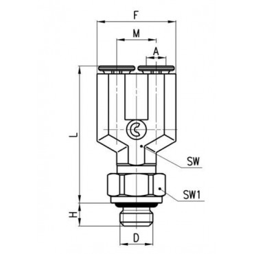 Szybkozłącze wtykowe, trójnik Y Micro 6452 Camozzi