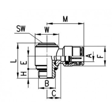 Szybkozłącze wtykowe kątowe 6622 Camozzi