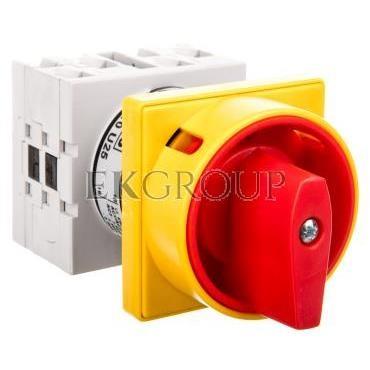 Łącznik krzywkowy 0-1 3P 16A do wbudowania  z pokrętłem żółto/czerwonym blokowany kłódką GX1610U25-87929