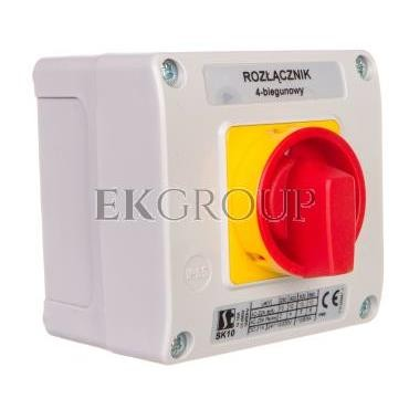 Łącznik krzywkowy 10A rozłącznik 0-1 4P w obudowie OB11 z czołem zamykanym żółto/czerwonym SK10-2.8210\OB11ZC-88642