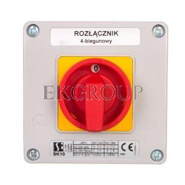Łącznik krzywkowy 10A rozłącznik 0-1 4P w obudowie OB11 z czołem zamykanym żółto/czerwonym SK10-2.8210\OB11ZC-88643