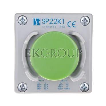 Kaseta sterownicza 1-otworowa przycisk grzybkowy z osłoną zielony 1Z szara IP65 SP22K1\26-1-98290