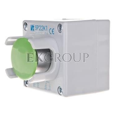 Kaseta sterownicza 1-otworowa przycisk grzybkowy z osłoną zielony 1Z szara IP65 SP22K1\26-1-98291