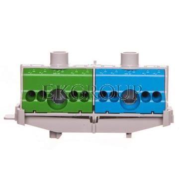 Listwa zaciskowa PE i N na szynę 80A 2x(1x25mm   4x4mm2) niebiesko-zielona FC PN 10 26001206-91074