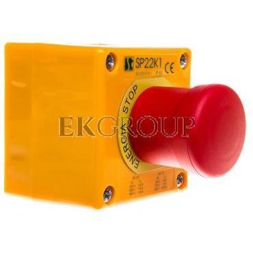 Kaseta z przyciskiem bezpieczeństwa IP65 żółta 1x dławnica SP22K1\BN-1-98388
