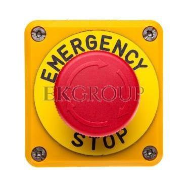 Kaseta z przyciskiem bezpieczeństwa przez obrót 1R czarno-żółta Emergency Sop IP65 T0-P1EC400E40-K-98403