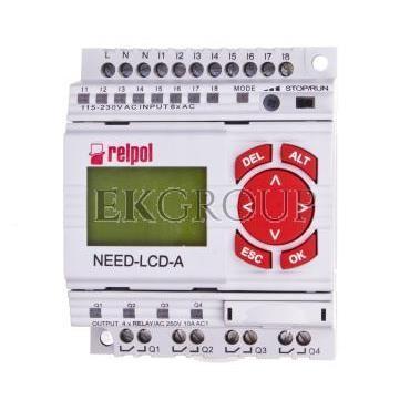 Przekaźnik programowalny 230V AC 8we, 4wy z wyświetlaczem i klawiaturą NEED-230AC-22-08-4R-D 859360-115907