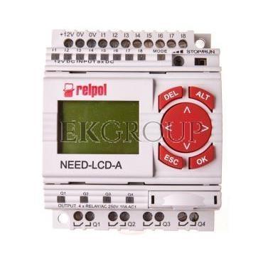 Przekaźnik programowalny 8we, 4wy z wyświetlaczem i klawiaturą NEED-12DC-22-08-4R-D 859358-115990