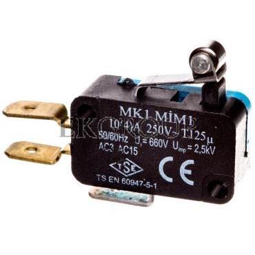 Wyłącznik krańcowy miniaturowy 1R 1Z dźwignia krótka z metalową rolką T0-MK1MIM1-117997