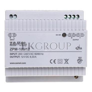 Zasilacz impulsowy TH-35 100W 12V DC ZPM-100/12 EXT10000212-118410
