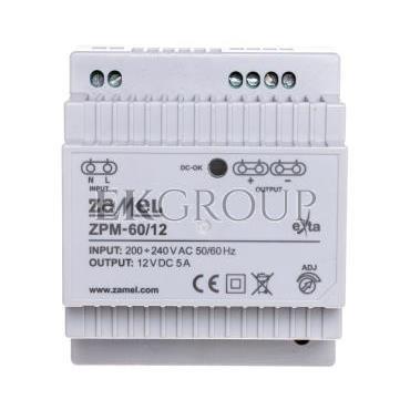 Zasilacz impulsowy TH-35 60W 12V DC ZPM-60/12 EXT10000210-118418