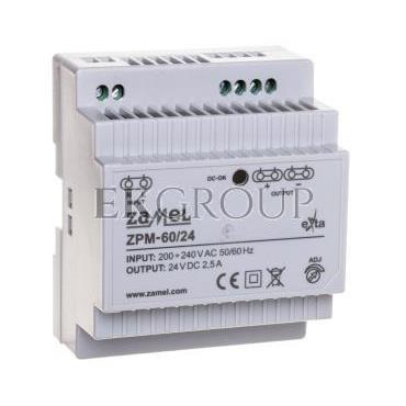 Zasilacz impulsowy TH-35 60W 24V DC ZPM-60/24 EXT10000211-118419