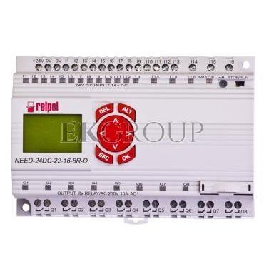 Przekaźnik programowalny 24V DC 16we, 8wy z wyświetlaczem i klawiaturą NEED-24DC-22-16-8R-D 859362-115910