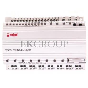 Przekaźnik programowalny 230V AC 16we, 8wy bez wyświetlacza i klawiatury NEED-230AC-11-16-8R 857367-115864