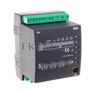 Programowalny przetwornik sieci 3-fazowej wejście I 5A wejście U 3x57,7/100V zasilanie 85-253V AC 90-320V DC wyjście 4 analog. b