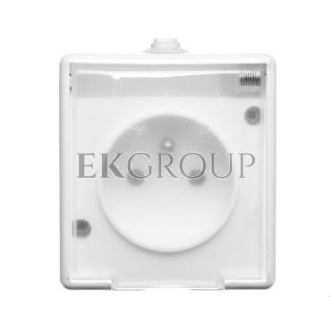 TROL Gniazdo hermetyczne pojedyncze z/u IP44 klapka transparentna białe 100132-123948