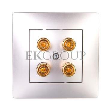 VOLANTE Gniazdo głośnikowe podwójne srebrny 2658-06-129743