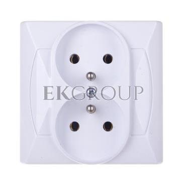 AKCENT Gniazdo podwójne z/u białe GP-2AZ/00-126085