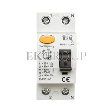 Wyłącznik różnicowoprądowy 2P 25A 0,03A typ A KRD6-2/25/30-A 23188-138004