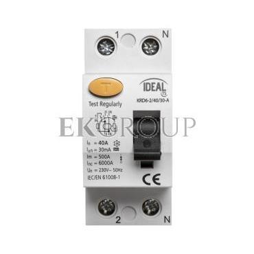 Wyłącznik różnicowoprądowy 2P 40A 0,03A typ A KRD6-2/40/30-A 23189-138008