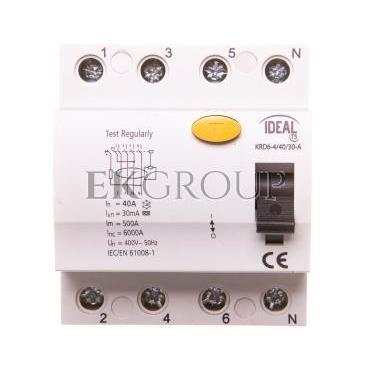 Wyłącznik różnicowoprądowy 4P 40A 0,03A typ A KRD6-4/40/30-A 23192-137976