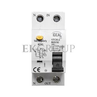 Wyłącznik różnicowo-nadprądowy 2P B 20A 0,03A typ AC KRO6-2/B20/30 23219-142701