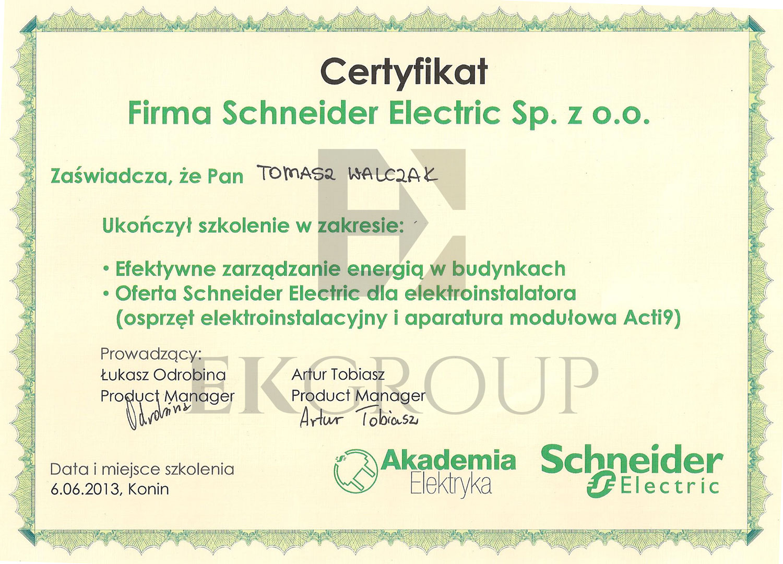 Certyfikat Instytutu Schneider Electric