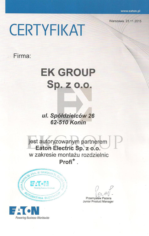 Certyfikat Partnera Firmy Eaton