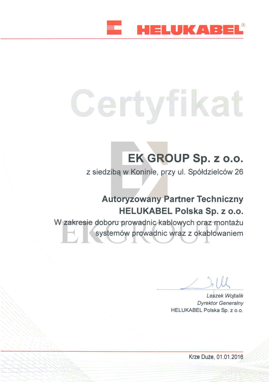 Certyfikat Partnera Firmy Helukabel